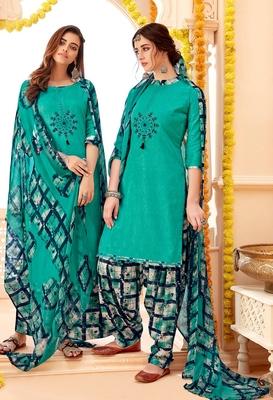 Blue printed cotton silk salwar