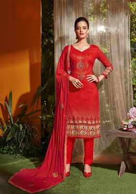 Red embroidered cambric salwar
