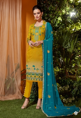 Yellow embroidered cambric salwar