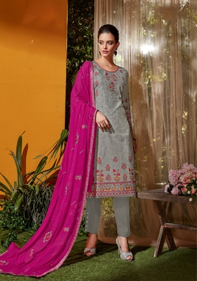 Grey embroidered cambric salwar