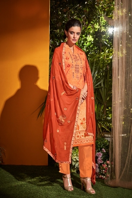 Peach embroidered cambric salwar