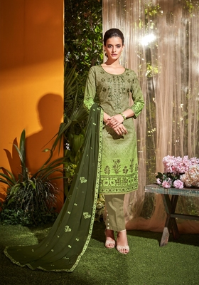 Olive embroidered cambric salwar