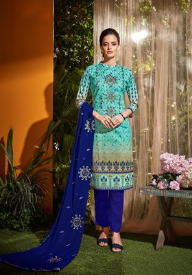 Blue embroidered cambric salwar