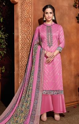 Pink printed cotton silk salwar
