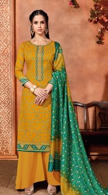 Yellow printed cotton silk salwar