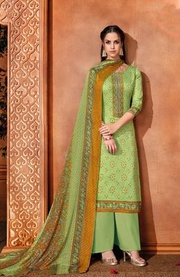 Green printed cotton silk salwar