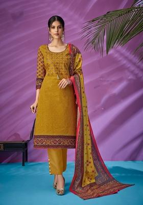 Yellow printed cambric salwar