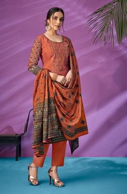 Orange printed cambric salwar