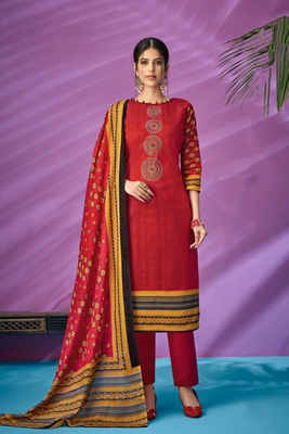 Red printed cambric salwar