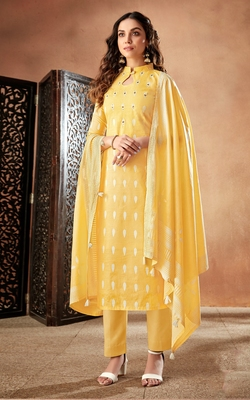 Yellow printed cambric salwar
