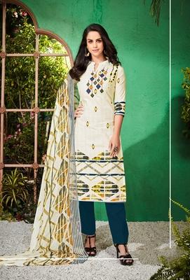 White printed cambric salwar