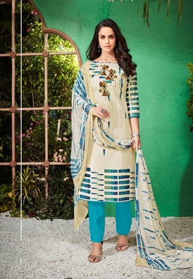White printed cambric salwar