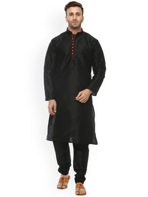 black Men's Cotton Silk Kurta Churidar