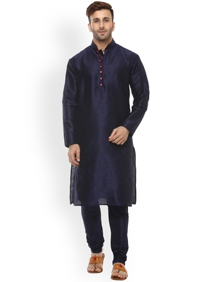 blue Men's Cotton Silk Kurta Churidar