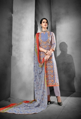 Blue printed cambric salwar