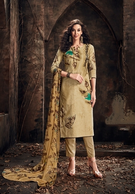 Brown printed cambric salwar