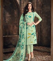 Blue printed cambric salwar
