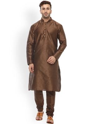 brown Men's Cotton Silk Kurta Churidar