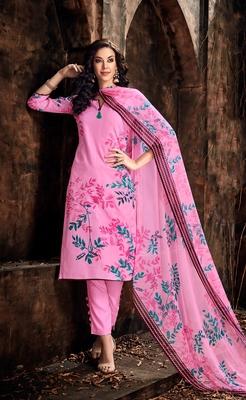 Pink printed cambric salwar