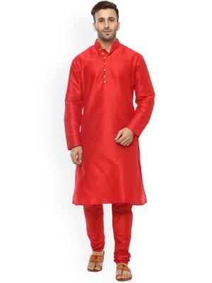 red Men's Cotton Silk Kurta Churidar