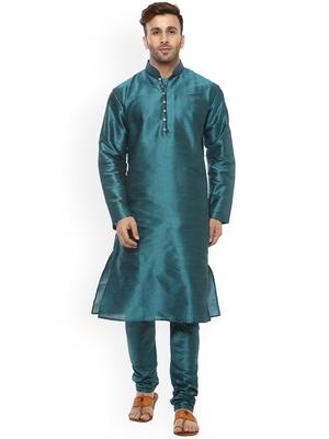 green Men's Cotton Silk Kurta Churidar