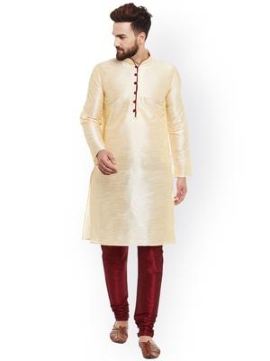 gold Men's Cotton Silk Kurta Churidar
