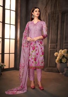 Purple printed cotton silk salwar