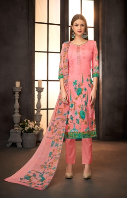 Pink printed cotton silk salwar