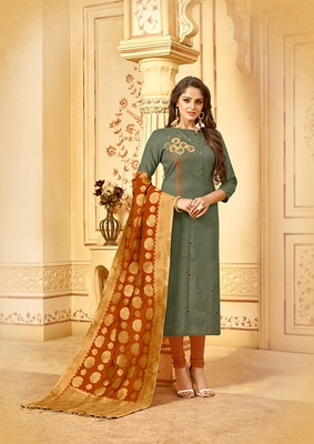 Olive embroidered cotton salwar