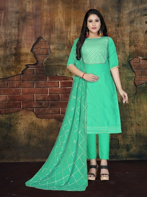 Light-blue embroidered cotton salwar