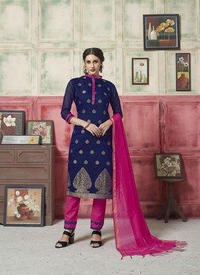 Blue embroidered banarasi silk salwar
