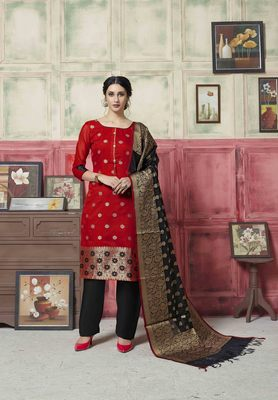 Red embroidered banarasi silk salwar
