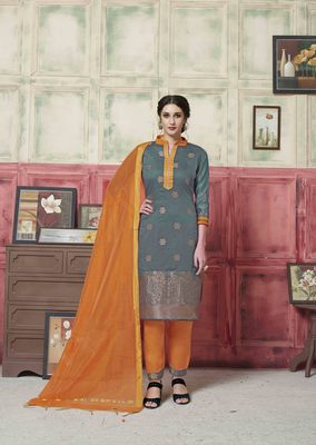 Grey embroidered banarasi silk salwar