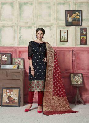 Black embroidered banarasi silk salwar