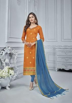 Orange woven banarasi silk salwar