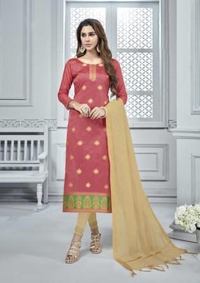 Light-pink woven banarasi silk salwar