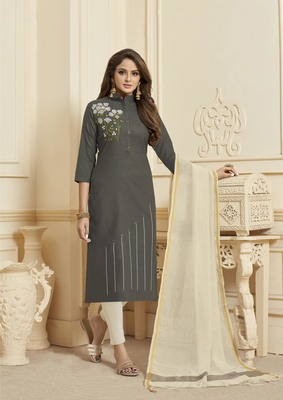 Grey Embroidered Cotton Salwar