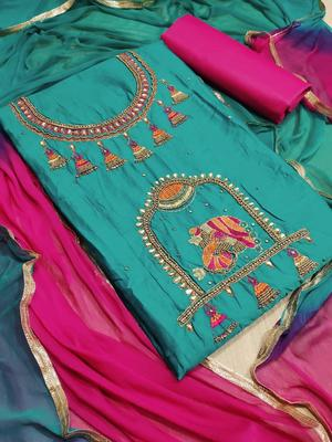sea green embroidered cotton unstitched salwar with dupatta