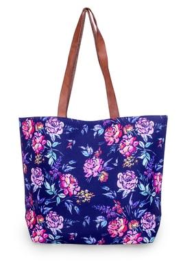 Blue Flower Print Polycanvas Light Weight Shopper Hand Shoulder Tote Bag