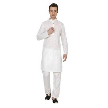 Cream plain Cotton men pyjamas