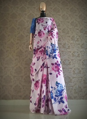 Multicolor printed jute saree with blouse
