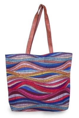 Colored Wave Polycanvas Light Weight Shopper Hand Shoulder Tote Bag