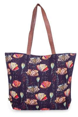 Line Flowers Polycanvas Light Weight Shopper Hand Shoulder Tote Bag