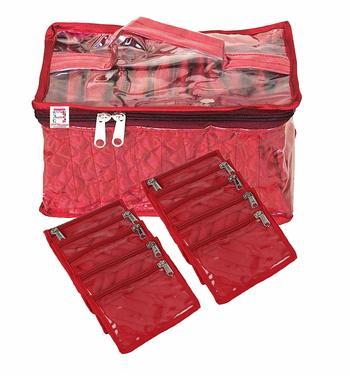 atorakushon® Satin Maroon Multipurpose Make Up Organizer Jewellery Cosmetic Necklace 10 Pouches Traveling Kit for Women