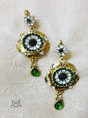 Gold Flower Earrings with Green Stone droplet