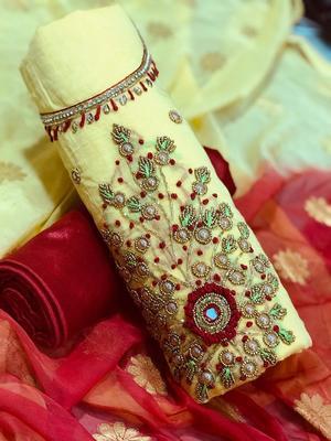 cream embroidered cotton salwar with dupatta