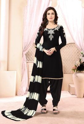 Black embroidered satin  salwar