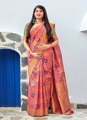 dark peach woven banarasi silk saree with blouse
