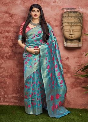 cyan woven banarasi silk saree with blouse