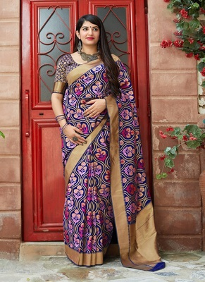 navy blue woven banarasi silk saree with blouse